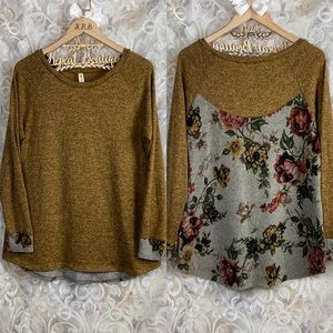 Vanilla Bay Boutique Mustard Yellow Floral Sweater